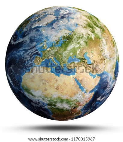 Planet Earth map. Elements of this image furnished by NASA. 3d rendering #1170015967