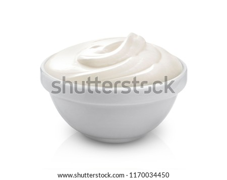Sour cream in bowl isolated on white background with clipping path #1170034450