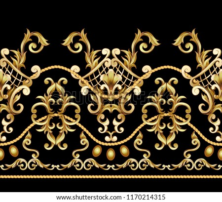 Border with golden baroque elements. Vector illustration.