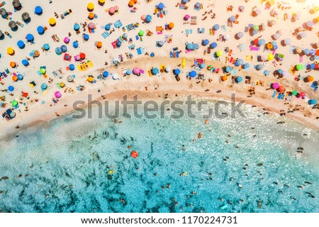 Aerial view of sandy beach with colorful umbrellas, swimming people in sea bay with transparent blue water at sunset in summer. Travel in Mallorca, Balearic islands, Spain. Top view. Landscape #1170224731
