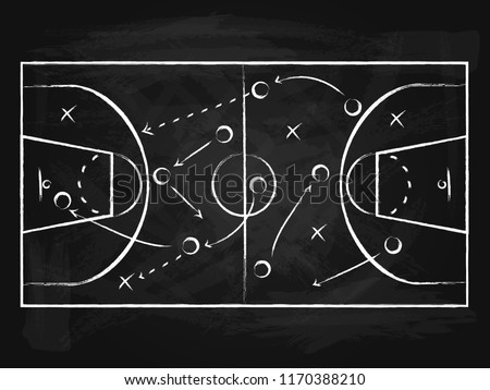 Black Chalkboard with Basketball Background Card Sport Court, Strategy or Plan Competition Concept. Vector illustration of Game Board