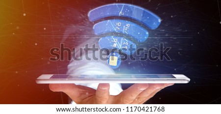 View of a Man holding a contactless credit card payment concept 3d rendering #1170421768