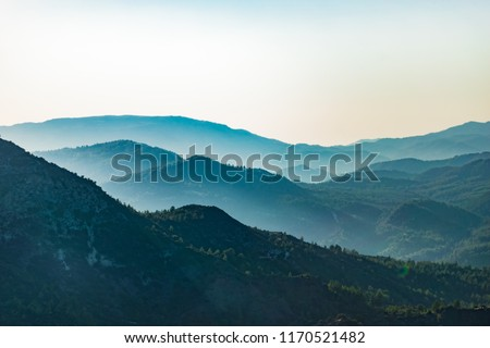 Troodos mountains in Cyprus, close to Mount Olympus, popular for area for tourists, hikes, and quads    #1170521482