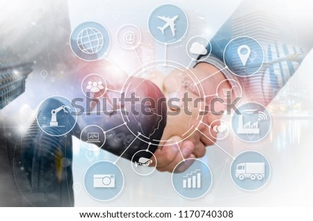Double exposure business shake hand and cityscape background with Internet of things (IOT) objects icon connecting together, Internet networking concept, Connect global wireless devices. #1170740308