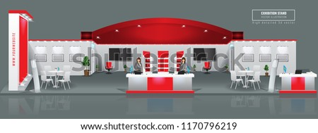 Grand Exhibition stand display mock up. High detailed 3d Vector illustration. Royalty-Free Stock Photo #1170796219