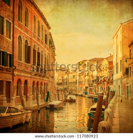 Vintage image of Venetian canals, Italy