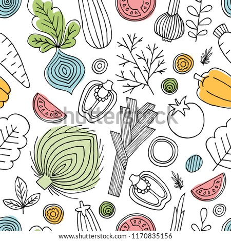 Fun vegetables seamless pattern. Linear graphic. Vegetables background. Scandinavian style. Healthy food.