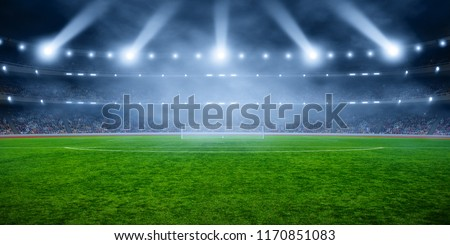 Soccer stadium with illumination, green grass and night  blurred sky #1170851083