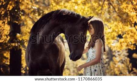 Beautiful girl with her andalusian horse and beautiful warm sunset in the autumn forest #1170866035