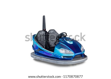 Electric bumper car for kids on white background #1170870877