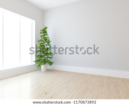 Idea of a white empty scandinavian room interior with vase on the wooden floor and large wall and white landscape in window. Home nordic interior. 3D illustration #1170873892