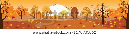 Panoramic of Countryside landscape in autumn, Vector illustration of horizontal banner of autumn landscape mountains and maple trees fallen with yellow foliage.