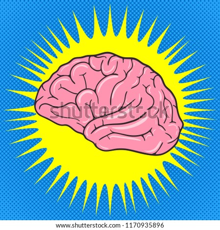 Comic Human brain. Pop Art vintage illustration