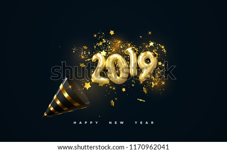 Golden 2019 numbers, party popper cone and glittering confetti isolated on black. Vector festive illustration. Holiday decoration with sparkling tinsel particles. Happy New Year #1170962041