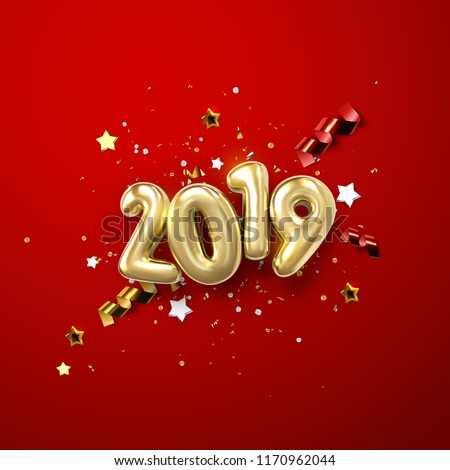 Realistic 2019 golden numbers and festive confetti, stars and spiral ribbons on red background. Vector holiday illustration. Happy New 2019 Year. New year ornament. Decoration element with tinsel #1170962044