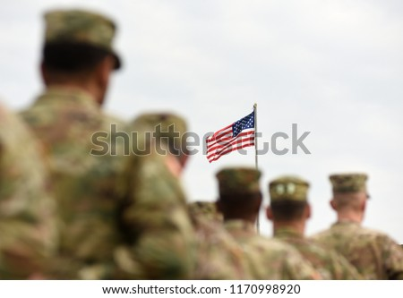 American Soldiers and US Flag. US troops #1170998920
