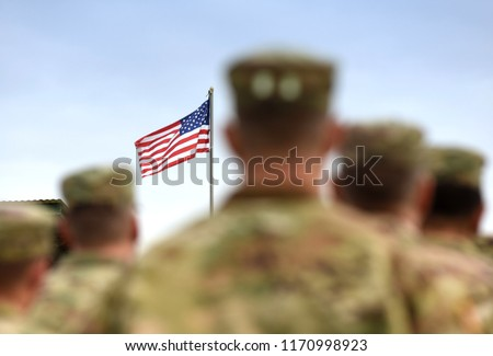 American Soldiers and US Flag. US Army #1170998923