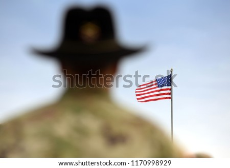 American Soldiers and US Flag. US troops #1170998929