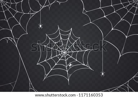 Scary spider web vector illustration. White cobweb silhouette isolated on dark background. Spooky halloween decoration element for your design. Eps 10. #1171160353