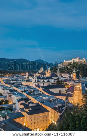 Salzburg general view as seen from M���¶nchsberg viewpoint right after sunset, Austria #117116389