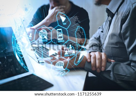 Digital marketing media (website ad, email, social network, SEO, video, mobile app) in virtual globe shape diagram.Business team meeting. Photo professional investor working new start up project.