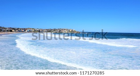 Sea rave and big wave at beach in Sydney, Australia #1171270285