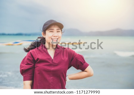 Cute asian fat teen portrait toothy smile happy holiday at the sea beach #1171279990