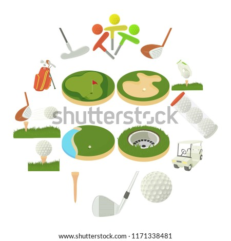 Golf items icons set. Cartoon illustration of 16 golf items icons for web