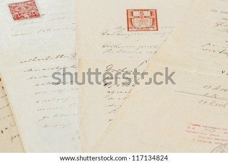 group of very old handwritten text agreements or contract #117134824
