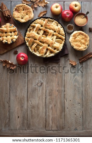 Homemade Apple Pies on rustic background, top view, copy space. Classic autumn Thanksgiving dessert - organic apple pie. #1171365301