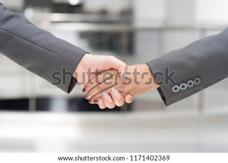 Businessman Wearing Black Suit Business Handshake #1171402369