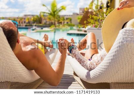 Couple on honeymoon in luxury hotel #1171419133