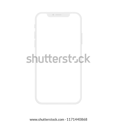 High quality realistic new version of soft clean white smartphone with blank white screen. Realistic vector mockup phone for visual ui app demonstration. #1171440868