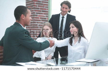 Business Partner Shake Hands on meetinig in modern office building #1171570444