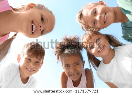 Cute little children outdoors, bottom view #1171579921