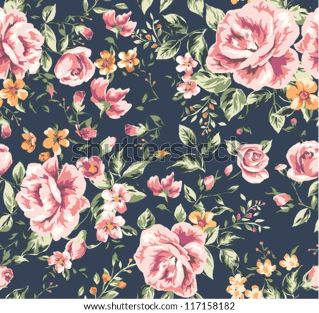 seamless vintage flower pattern on navy background