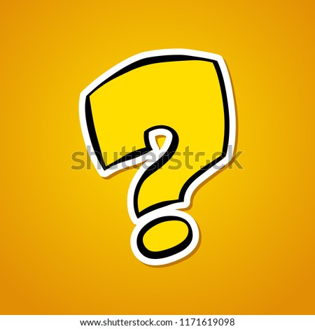 Question mark. Stylized cartoon question mark. Sticker on an orange background. Vector illustration. Royalty-Free Stock Photo #1171619098