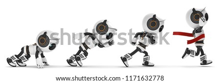 3D Illustration Robot start up and reach target