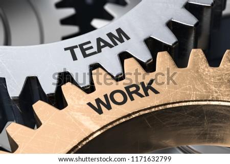 3D Illustration Gears Team Work  #1171632799