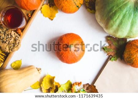 Hello, Autumn. Orange pumpkins Cup of tea Autumn foliage on a white background Top view #1171639435