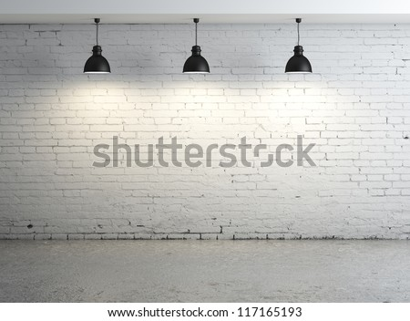 High resolution brick concrete room with ceiling lamp #117165193