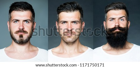 Bearded man or hipster set. Long beard. Hair style hair stylist. Barber shop design. Advertising and barber shop concept. Set of mans portrait Royalty-Free Stock Photo #1171750171
