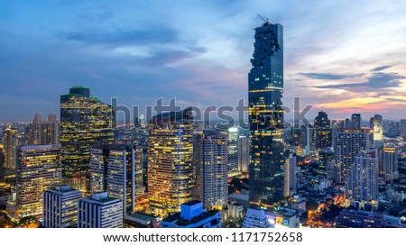 Bangkok City - Aerial view  beautiful sunset  Bangkok city downtown skyline of Thailand , cityscape at night  , landscape Bangkok Thailand #1171752658
