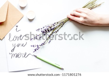 concept of Valentine Day love letter white background top view #1171801276
