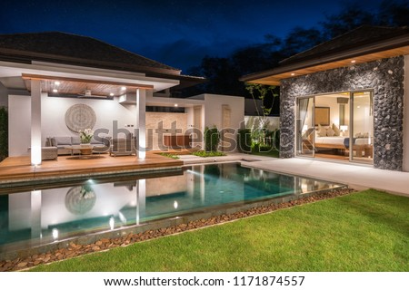 real estate Interior and exterior design pavilion of pool villa with swimming pool ,home, house , night time  ,building #1171874557