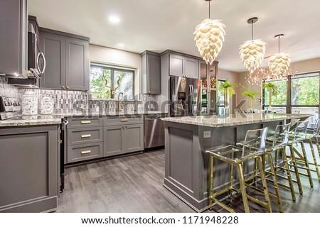 Modern Kitchen Beautiful Lights Royalty-Free Stock Photo #1171948228