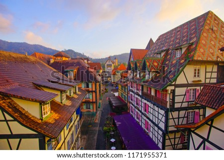 View of old French Style Public Building at, Colmar Bukit Tinggi During Sunrise #1171955371
