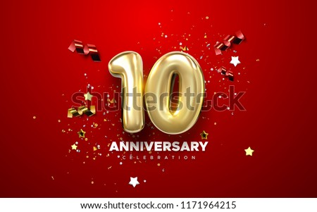 10th Anniversary celebration. Golden numbers with sparkling confetti, stars, glitters and streamer ribbons. Vector festive illustration. Realistic 3d sign. Party event decoration Royalty-Free Stock Photo #1171964215
