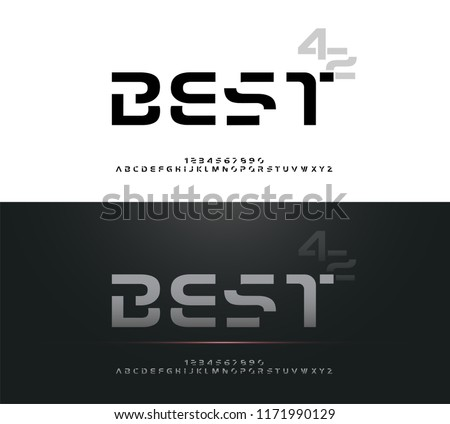 Technology alphabet silver metallic designs for logo, Poster, Invitation. Exclusive Letters Typography Number Regular font Digital and Sport concept. vector illustrator #1171990129