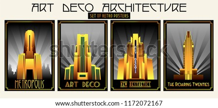 Vector Set of Retro Posters Art Deco Architecture Style Royalty-Free Stock Photo #1172072167